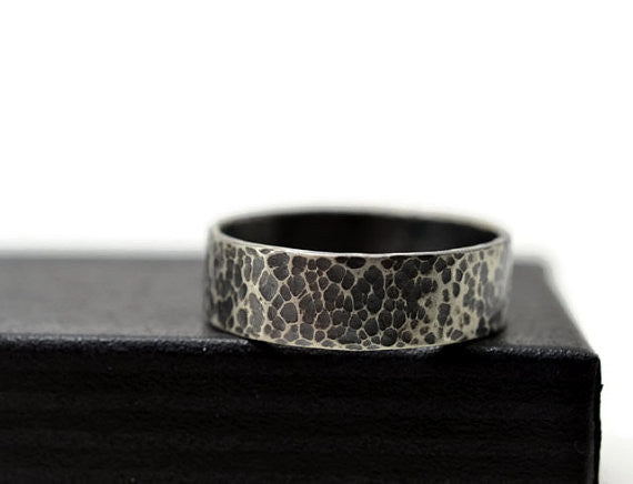 Customised Wedding Band in Oxidized Sterling Silver