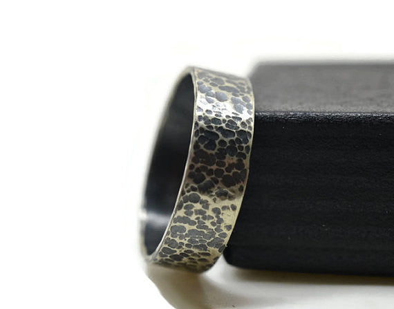 Handmade Oxidized Silver Wedding Band