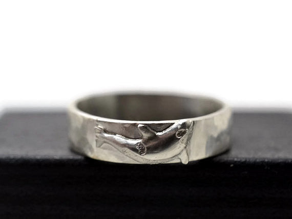 Handmade Sterling Silver 4.5mm Wide Killer Whale Ring