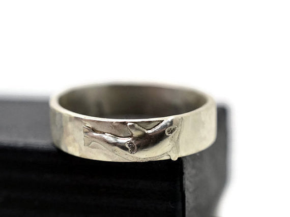 Handmade Sterling Silver 4.5mm Wide Orca Charm Ring