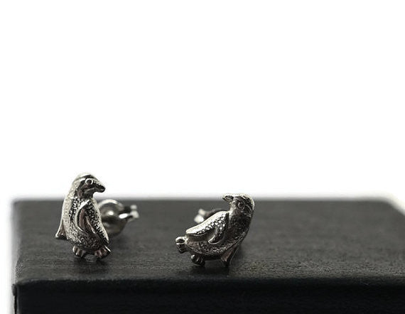 Handmade Sterling Silver Penguin Earrings