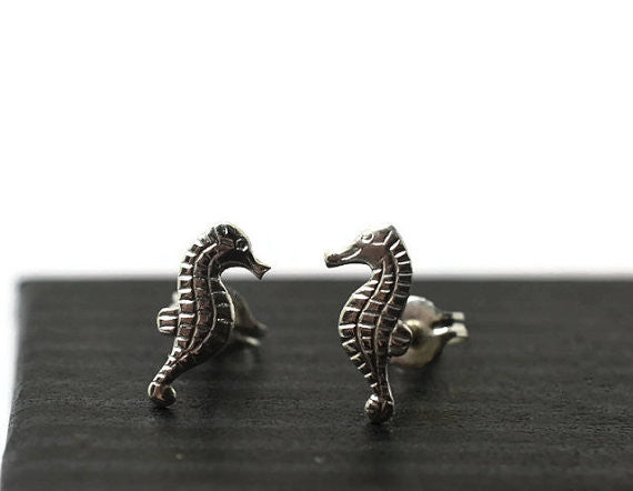 Handmade Silver Seahorse Post Earrings