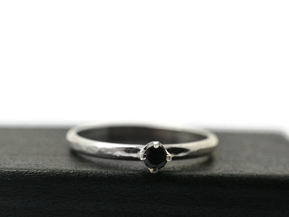 Handforged 3mm Black Spinel Ring in Sterling Silver