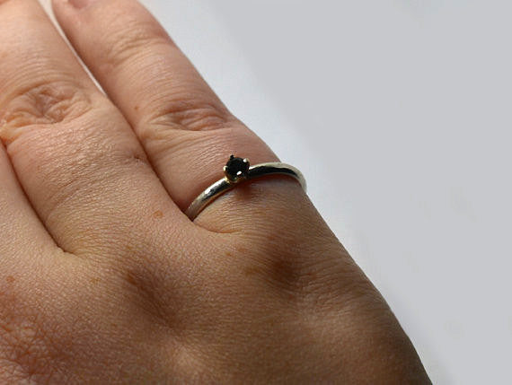 Handmade Silver & Natural 3mm Black Spinel Ring