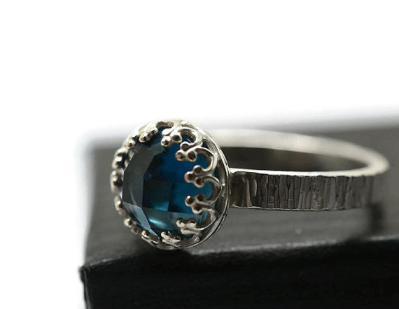 8mm Checkerboard Cut London Blue Topaz Ring in Silver