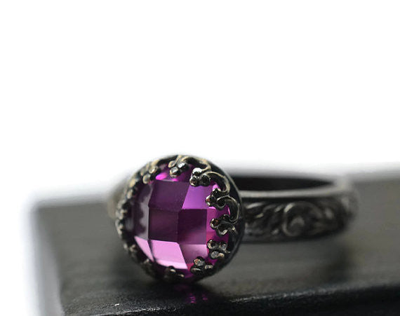Handmade Oxidized Silver Renaissance Style Pink Sapphire Ring