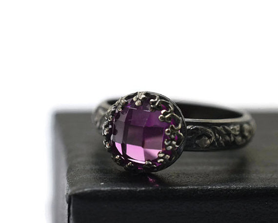 Handmade Oxidised Silver Renaissance Style Pink Sapphire Ring
