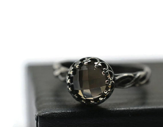 Oxidized Silver Braid Pattern Smoky Quartz Engagement Ring