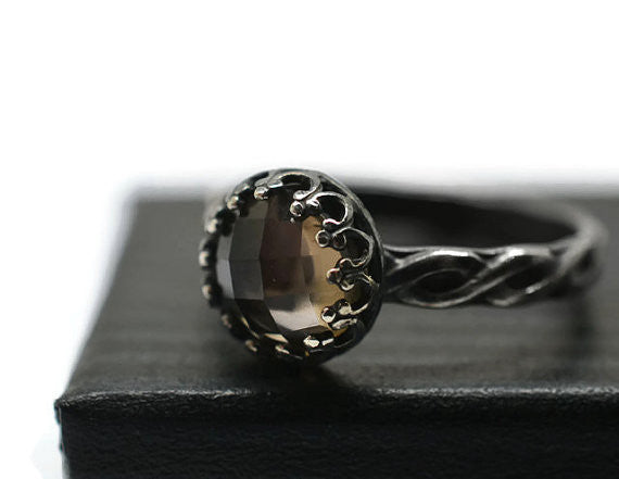 Handmade Oxidized Silver Celtic Style Smoky Quartz Ring
