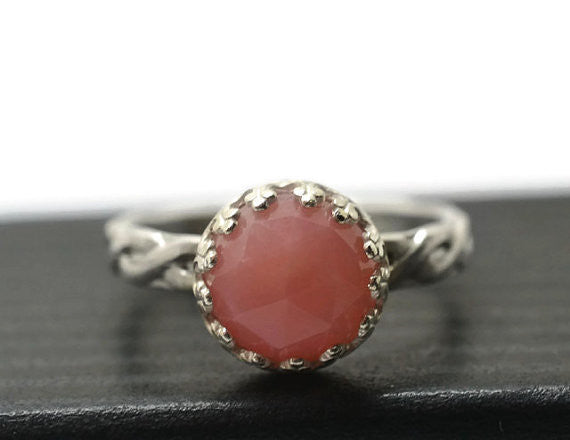 Women's Silver Celtic Style Pink Opal Gemstone Ring