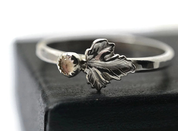 Rose Quartz Berry & Silver Leaf Ring