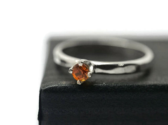 Dainty Sterling Silver & 3mm Orange Sapphire Engagement Ring