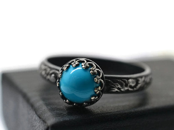 Oxidized Sterling Silver & 8mm Sleeping Beauty Turquoise Ring