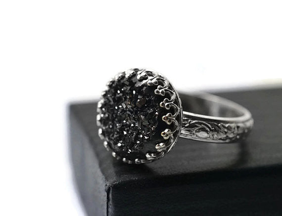 Renaissance Style Black Druzy Ring in Sterling Silver