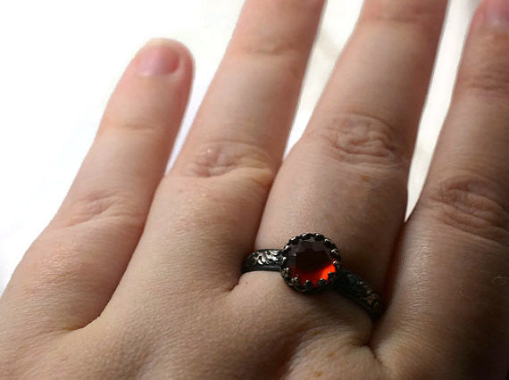 Handmade Gothic Oxidised Silver Hessonite Garnet Ring