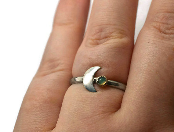Handmade Opal & Moon Ring