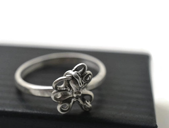 Handforged Silver Octopus Ring