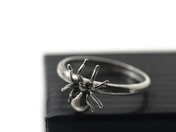 Custom Engraved Sterling Silver Spider Charm Ring