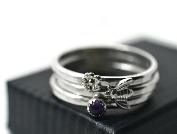 Silver Flower & Bee Stacking Ring Set