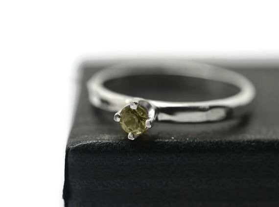 Handmade Sterling Silver & Green Sapphire Engagement Ring