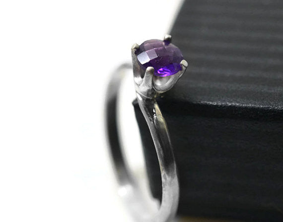 Handmade Checkerboard Amethyst Solitaire Ring