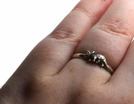 Sterling Silver Triceratops Ring