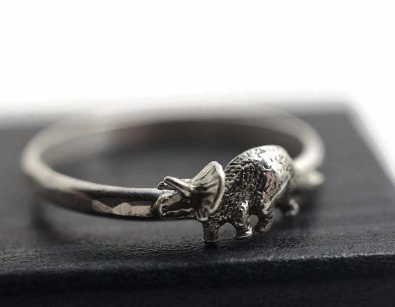 Handforged Sterling Silver Triceratops Ring