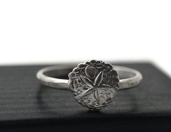 Customised Sterling Silver Sand Dollar Charm Ring