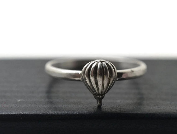 Sterling Silver Hot Air Balloon Charm Ring