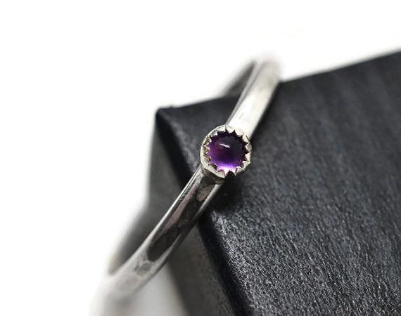 Tiny Amethyst Stacking Ring