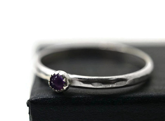 Dainty 3mm Amethyst Stacking Ring in Sterling Silver