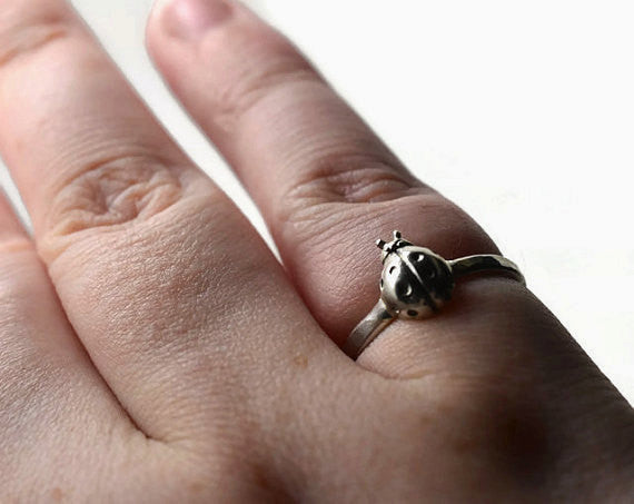 Customised Sterling Silver Ladybird Ring