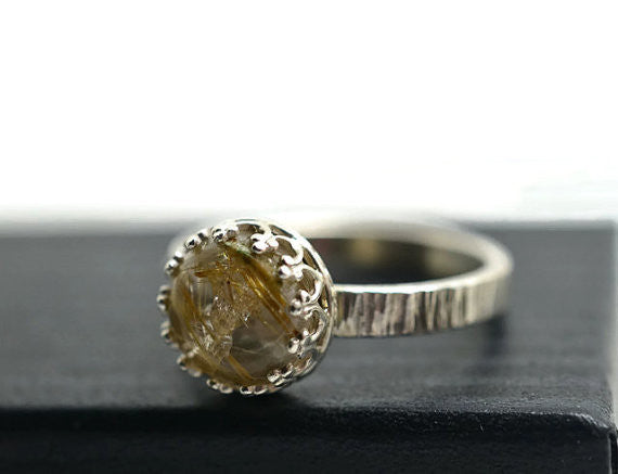 Natural Golden Rutilated Quartz Engagement Ring in Sterling Silver