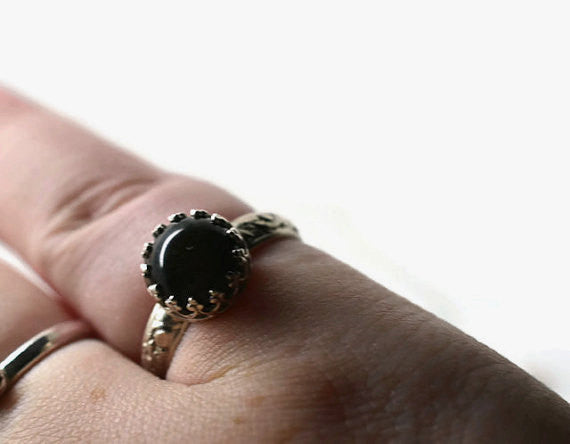 Golden Obsidian Engagement Ring, Custom Engraved Silver Leafy Floral Ring