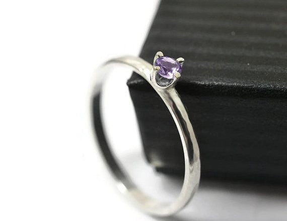 Handmade Sterling Silver & Tiny Brazilian Amethyst Ring