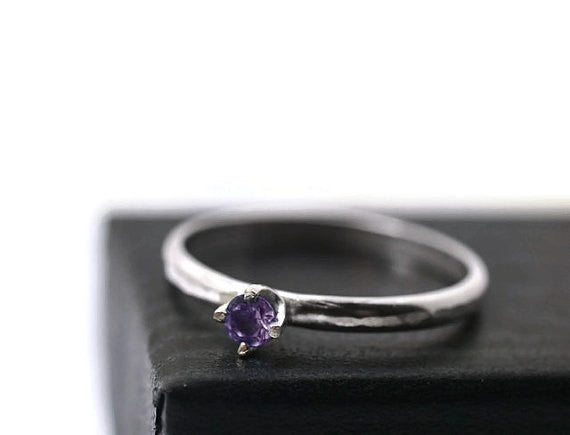 Handmade 3mm Brazilian Amethyst Engagement Ring