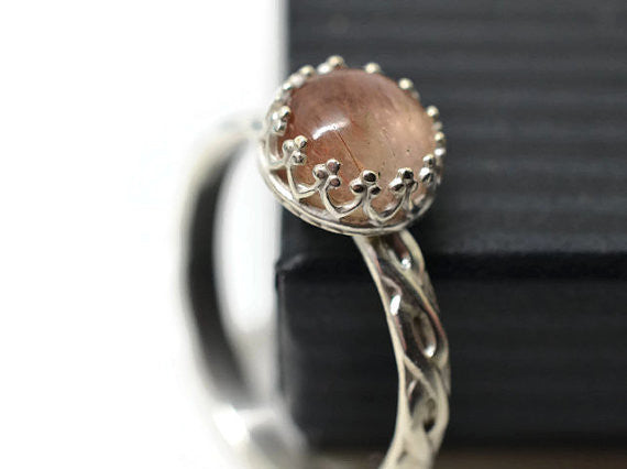 Handmade Silver Celtic Style Copper Rutile Quartz Ring