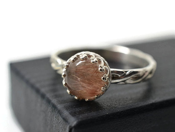 Natural Copper Rutile Ring in Celtic Style Silver