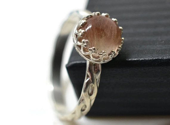 Handmade Silver Braid Patterned Copper Rutile Ring