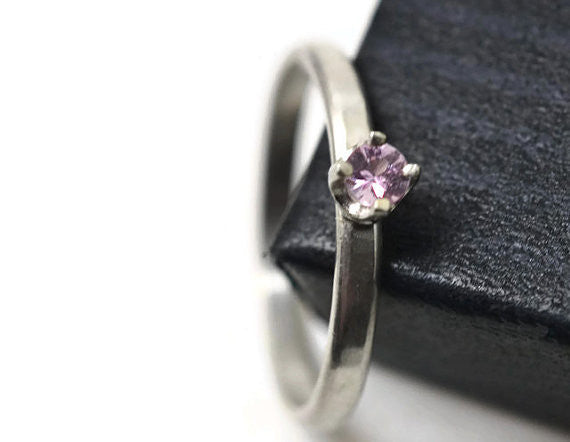 Dainty Pink Sapphire Engagement Ring