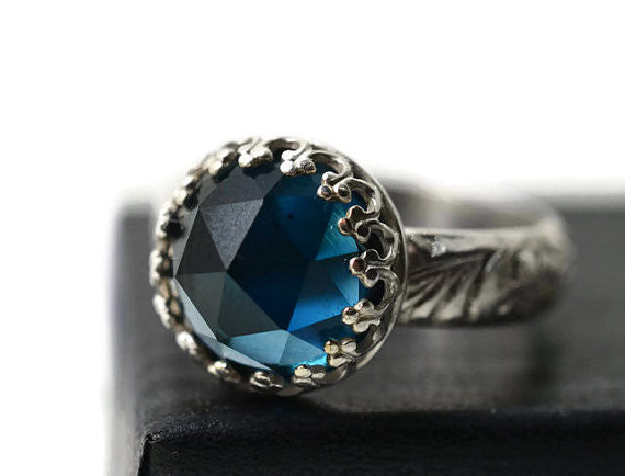 10mm London Blue Topaz & Renaissance Style Floral Silver Ring