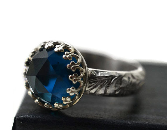Handforged Renaissance Style London Blue Topaz Ring in Silver