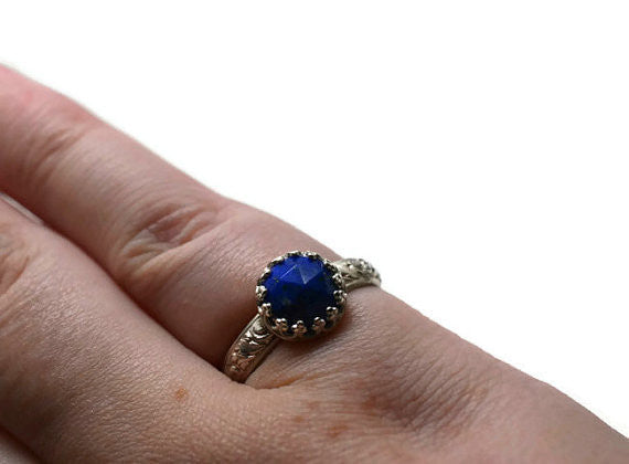 Handmade Natural Rose Cut Lapis Lazuli Ring in Sterling Silver
