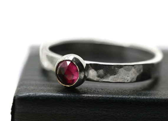 5mm Pink Tourmaline Promise Ring in Sterling Silver