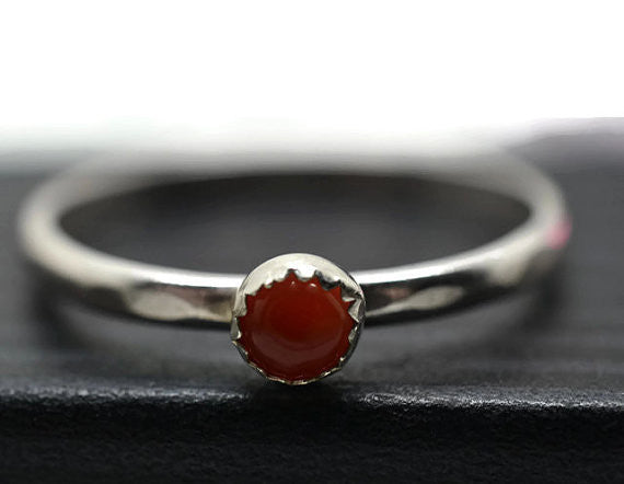 Stackable Sterling Silver & 4mm Natural Carnelian Ring