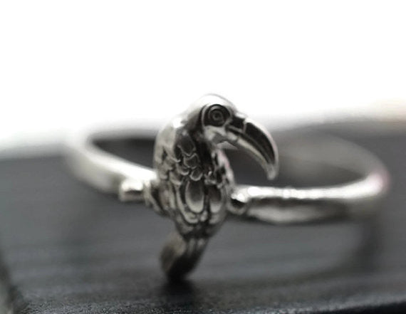 Handmade Sterling Silver Tropical Bird Toucan Ring