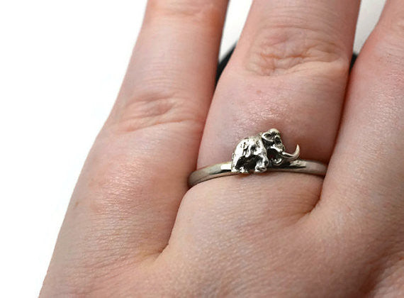 Handmade Silver Woolly Mammoth Ring