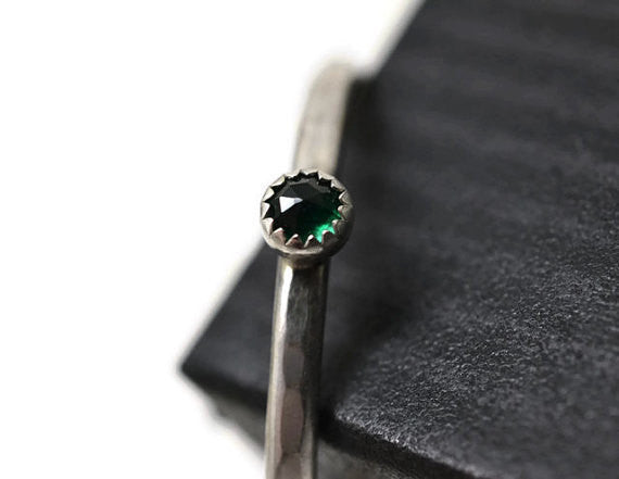 Handmade Sterling Silver & Tiny Emerald Ring