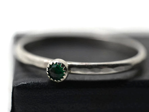 Tiny Emerald Stacking Ring in Sterling Silver