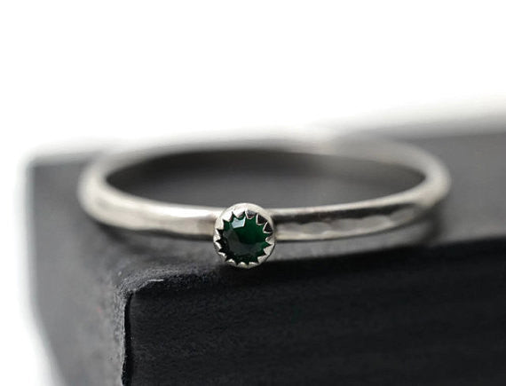 Handforged Sterling Silver Emerald Ring
